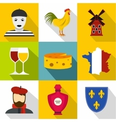 Stay in france icons set flat style vector