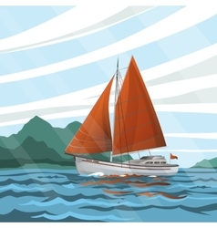 Stylized seascape with the sailboat floating on vector