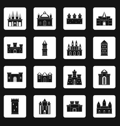 Towers and castles icons set squares vector