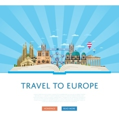 Travel to Europe poster with famous attractions vector image vector image