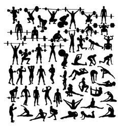 weightlifting and exercises fitness activity vector image vector image