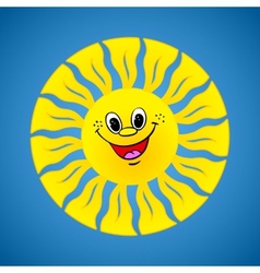 Yellow smiling sun on summer background vector