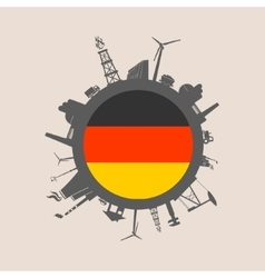 Circle with industrial silhouettes germany flag vector