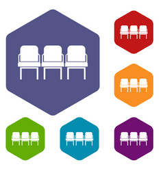 Chairs in the departure hall icons set vector