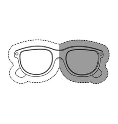 Monochrome contour sticker with oval glasses lens vector