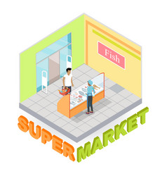 Supermarket fish department isometric vector