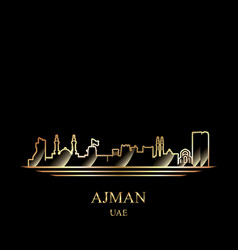 Gold silhouette of ajman on black background vector