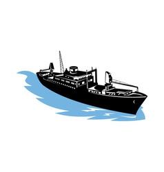 Cargo ship at sea vector