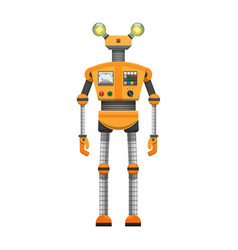 Orange robot with big artificial eyes isolated on vector