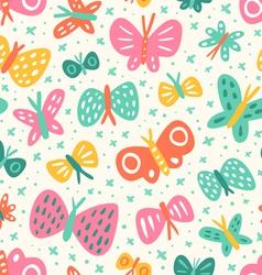 Doodle butterflies pattern vector image