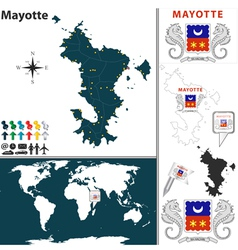 Mayotte map world vector
