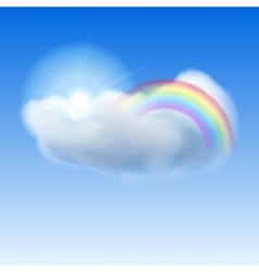 Blue sky with sun cloud and rainbow vector image