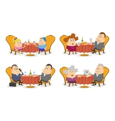People at the Tables Set Isolated vector image