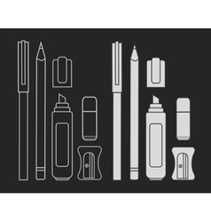 Stationery writing tools set chalk vector
