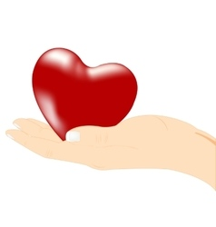 Red heart in hand vector