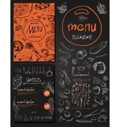 Restaurant food menu set vintage design with vector
