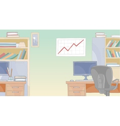Cartoon office interior with furniture vector