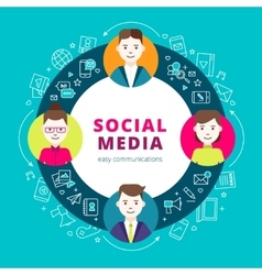 Social media group of people vector