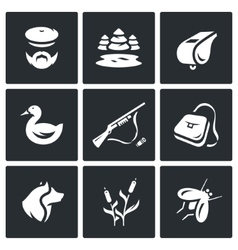 Set of Hunting Icons Hunter nature vector image