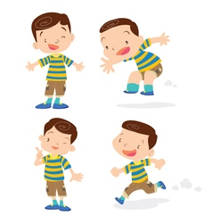 Cute boy character cartoon action vector