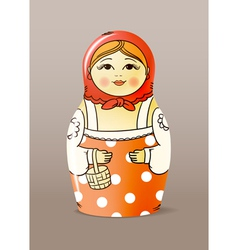 Painted varnished wood doll vector