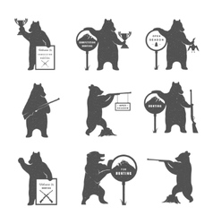 Set bear hunters vector