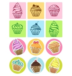 Cupcakes set icons vector