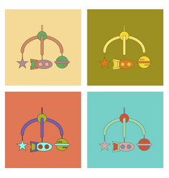 Assembly flat icons kids toy mobility vector