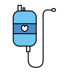 Bag blood with heart donation icon vector