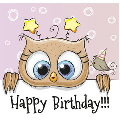 birthday card with owl vector image vector image