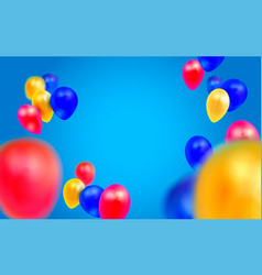 birthday template with balloons on blue background vector image vector image