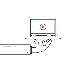 black linear hand holding video player on dish vector image vector image