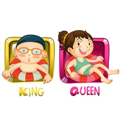 Boy and girl on square badges vector