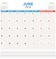 Calendar planner 2016 flat design template june vector