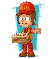 Cartoon young pizza delivery man vector
