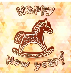 Chocolate horse new year greeting card vector