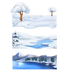 Christmas background Winter landscape 3d banner vector image vector image