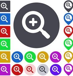 Color zoom in icon set vector