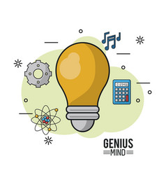 Colorful poster of genius mind with light bulb in vector