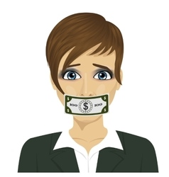 Corrupt woman with dollar bill taped to mouth vector