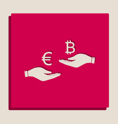 Currency exchange from hand to hand euro an vector