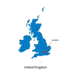 Detailed map of United Kingdom and capital city vector image vector image
