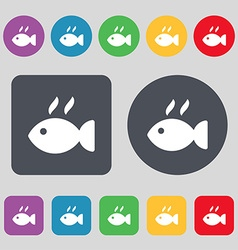 Fish dish icon sign a set of 12 colored buttons vector