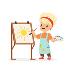 Flat of little girl painting vector
