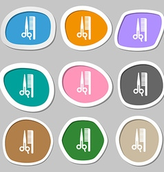 Hair icon symbols multicolored paper stickers vector