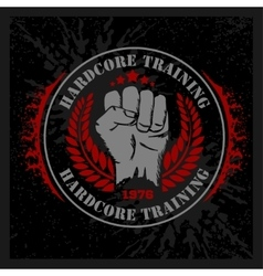 Hardcore training - Fist and wreath vintage label vector image vector image