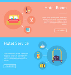 Hotel room and service set of advertising banners vector
