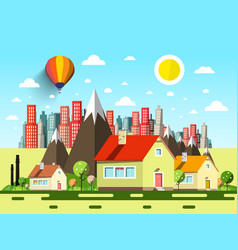 Houses and abstract city cartoon vector