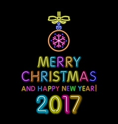 merry Christmas and happy new year 2017 neon light vector image