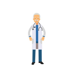 old man doctor in uniform and stethoscope around vector image